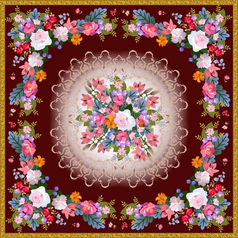 El pañuelo cuadrado hermoso imprime con el marco de oro, las guirnaldas florales, el cordón y el ramo de flores del jardín en el  ilustración del vector
