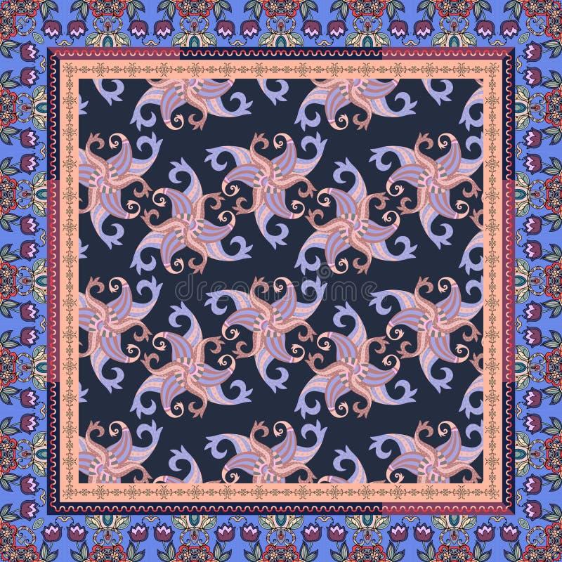 El pañuelo imprime, baldosa cerámica, mantel o amortiguador con el ornamento maravilloso de Paisley y marco hermoso con las flore stock de ilustración