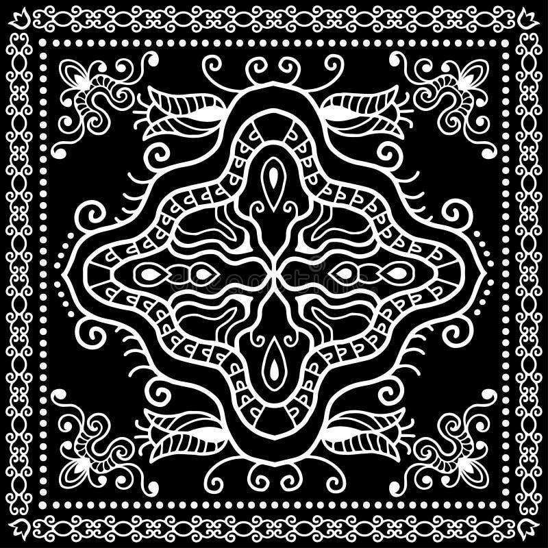 El pañuelo negro imprime, la bufanda de cuello o el pañuelo de seda imagen de archivo
