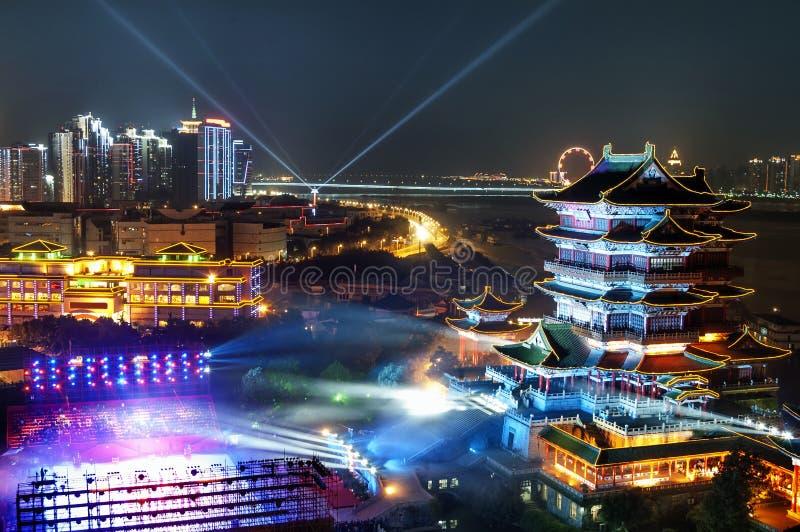 El pabellón del tengwang en puesta del sol imágenes de archivo libres de regalías