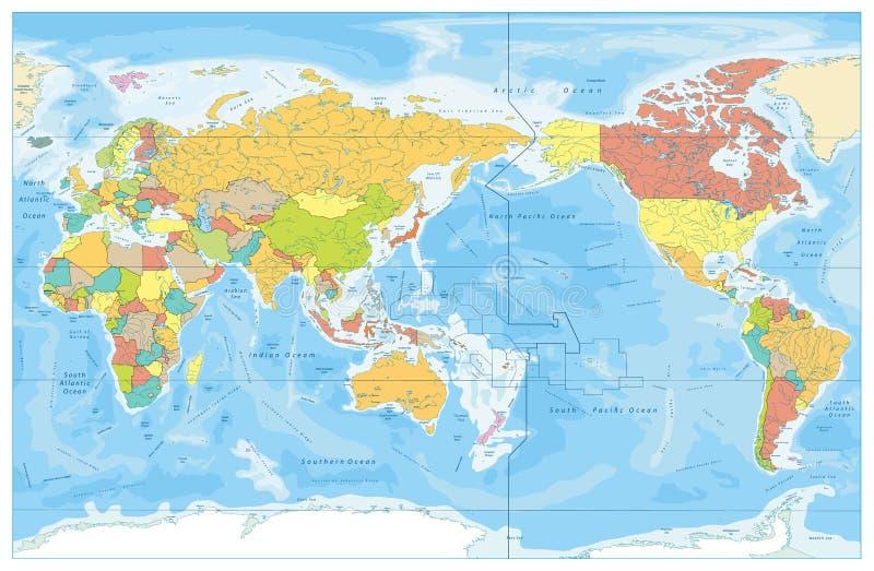 El Pacífico centró la batimetría del mapa coloreado y del agua del mundo con el nam libre illustration