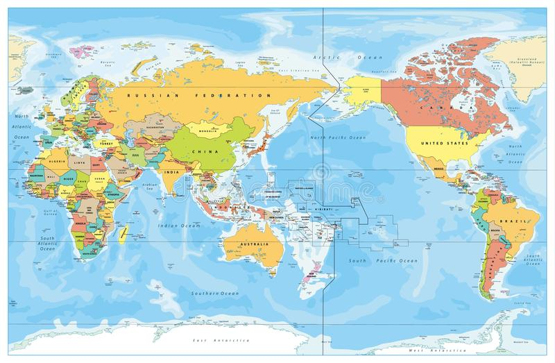 El Pacífico centró el mapa coloreado del mundo stock de ilustración