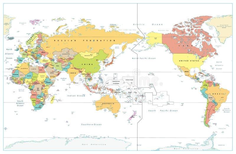 El Pacífico centró el mapa coloreado del mundo aislado en blanco ilustración del vector