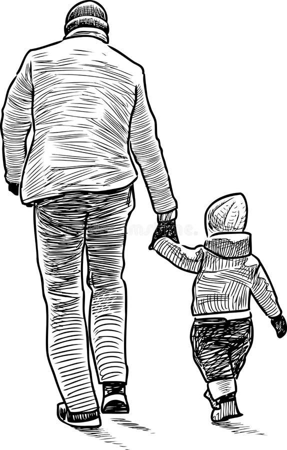 El padre con el niño en paseo libre illustration