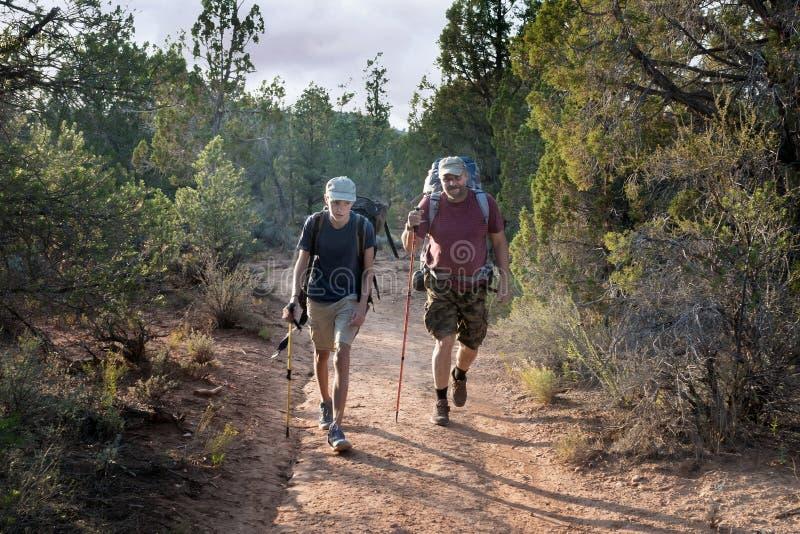 El padre con el hijo con las mochilas pesadas grandes entra a lo largo de la trayectoria  fotografía de archivo