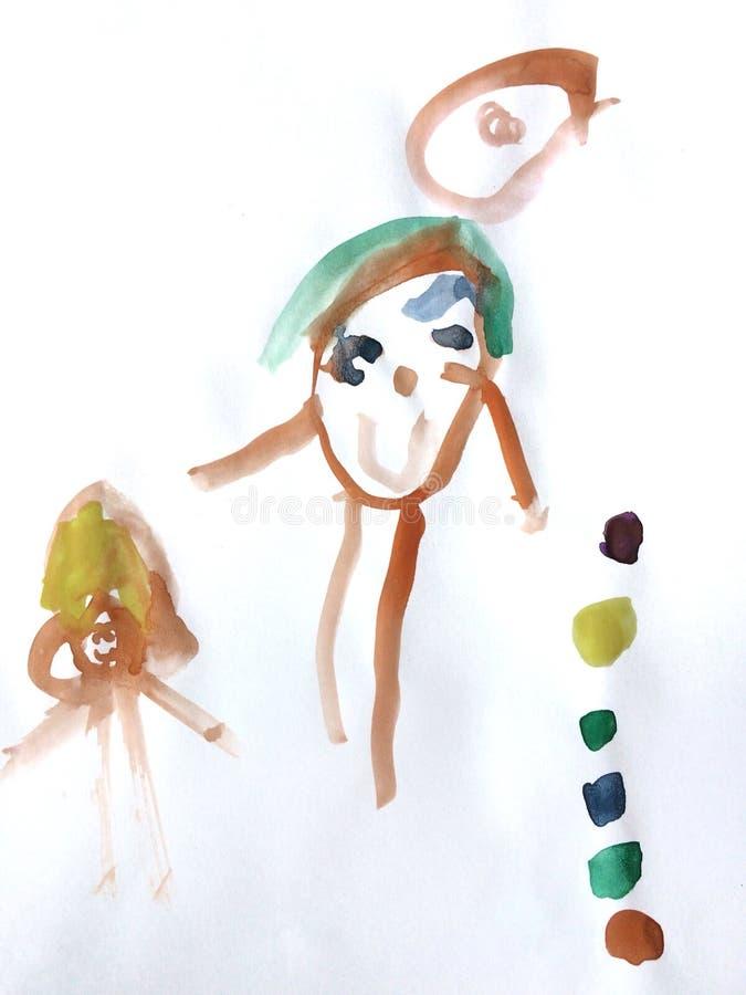 El padre de la pintura tomó a su hija va a viajar stock de ilustración