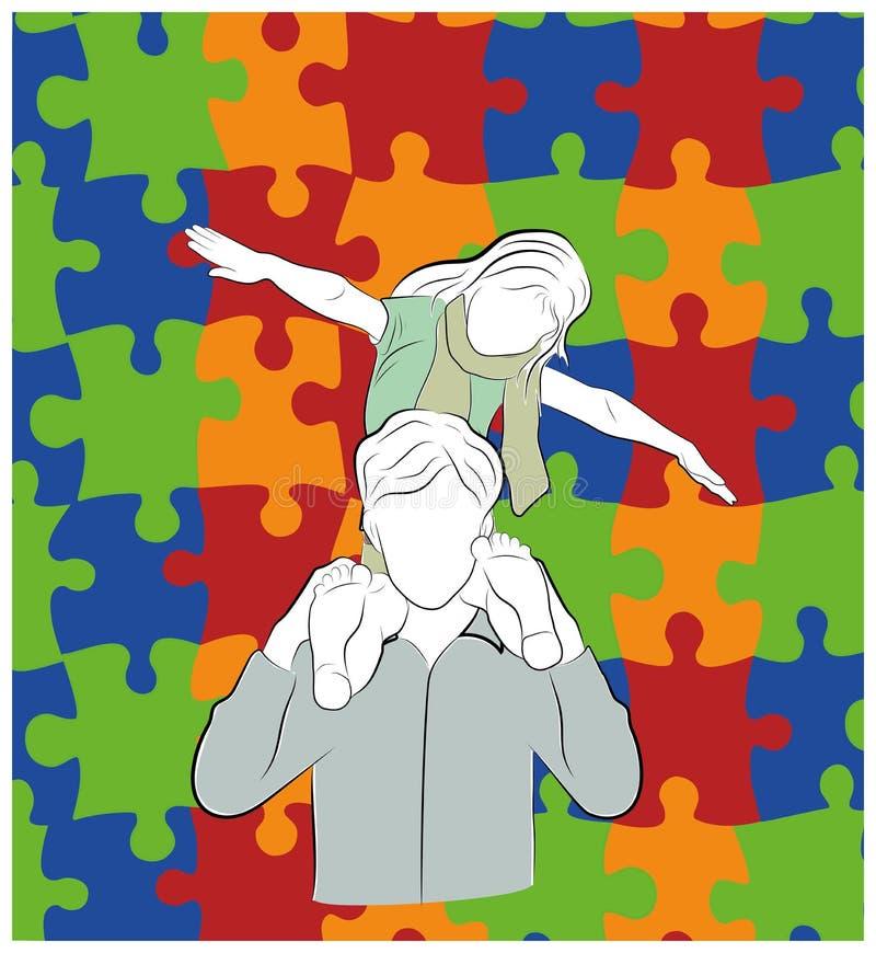 El padre detiene a un niño en sus hombros contra la perspectiva de rompecabezas, símbolos del autismo Ilustración del vector ilustración del vector