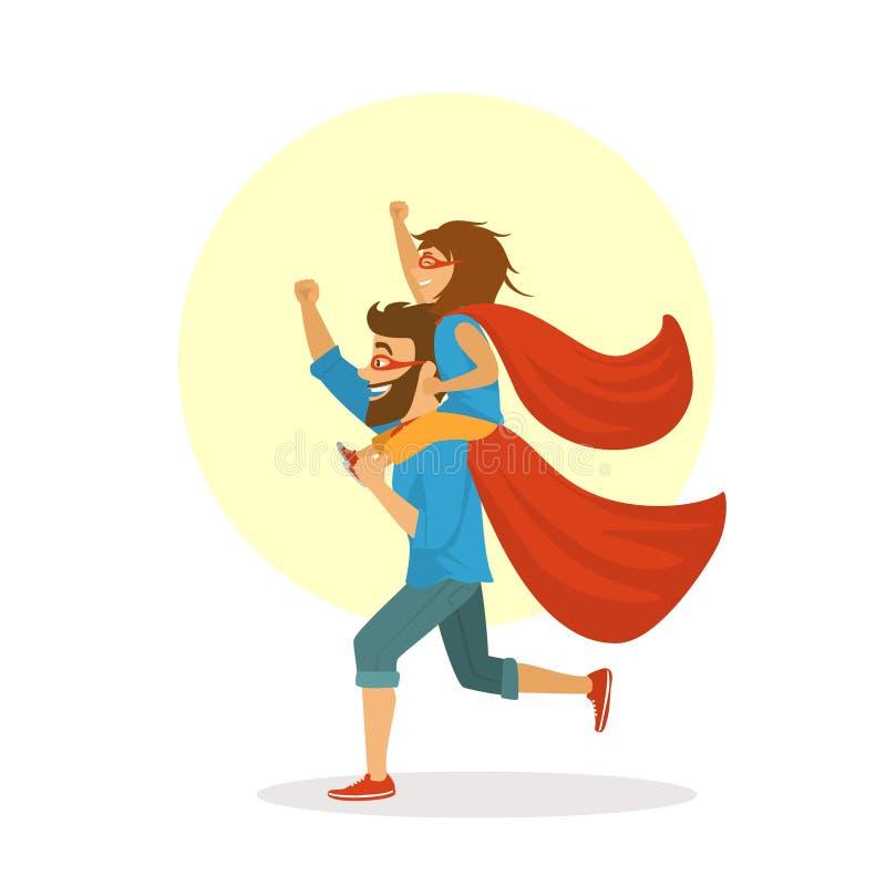 El padre divertido y la hija que se divierten, jugando juntos a super héroes, muchacha que se sienta en papás lleva a hombros, ilustración del vector