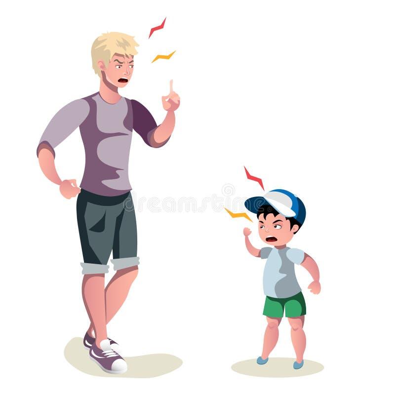 El padre está discutiendo con su hijo libre illustration