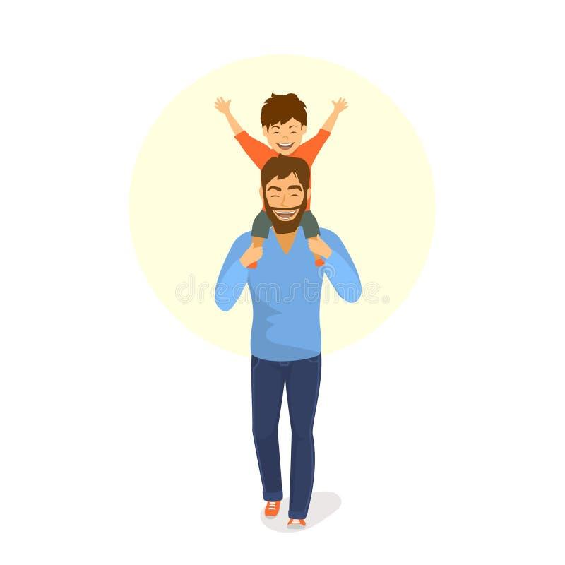 El padre feliz y el hijo que caminan juntos, muchacho se está sentando en papás detrás lleva a hombros stock de ilustración