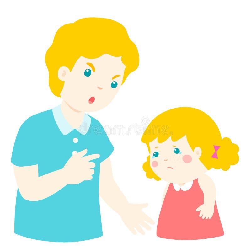 El padre regaña a su hija stock de ilustración