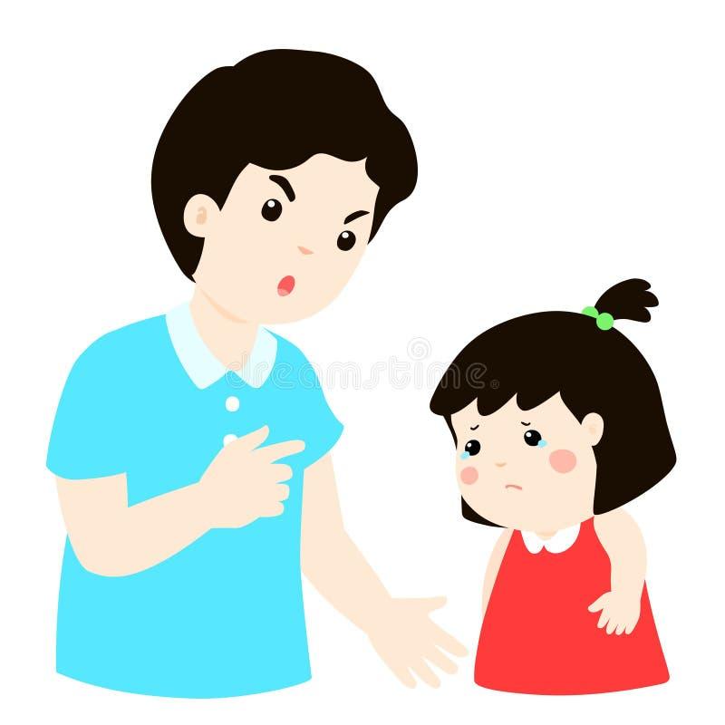 El padre regaña su personaje de dibujos animados de la hija stock de ilustración