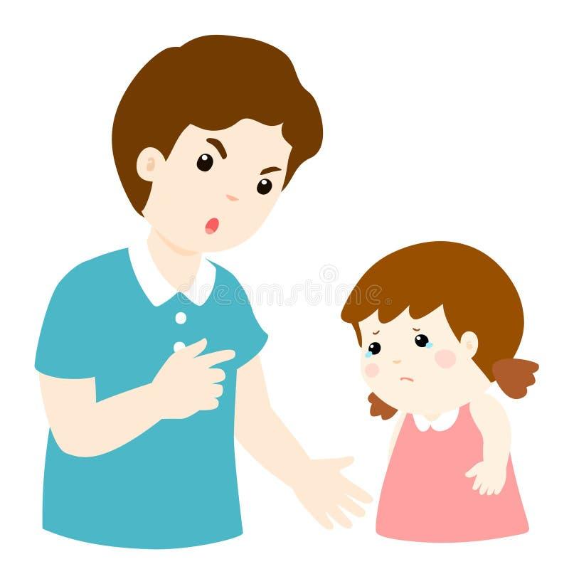 El padre regaña su personaje de dibujos animados de la hija ilustración del vector