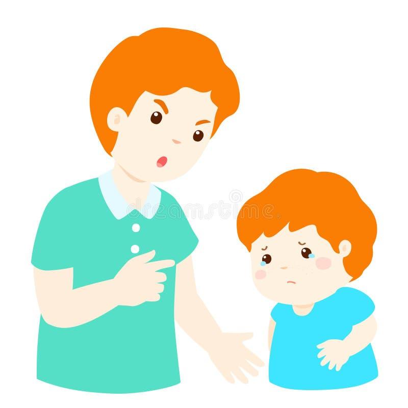 El padre regaña su personaje de dibujos animados del hijo ilustración del vector