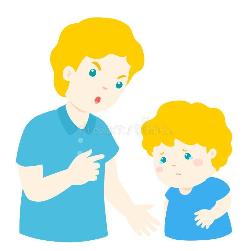 El padre regaña su personaje de dibujos animados del hijo stock de ilustración