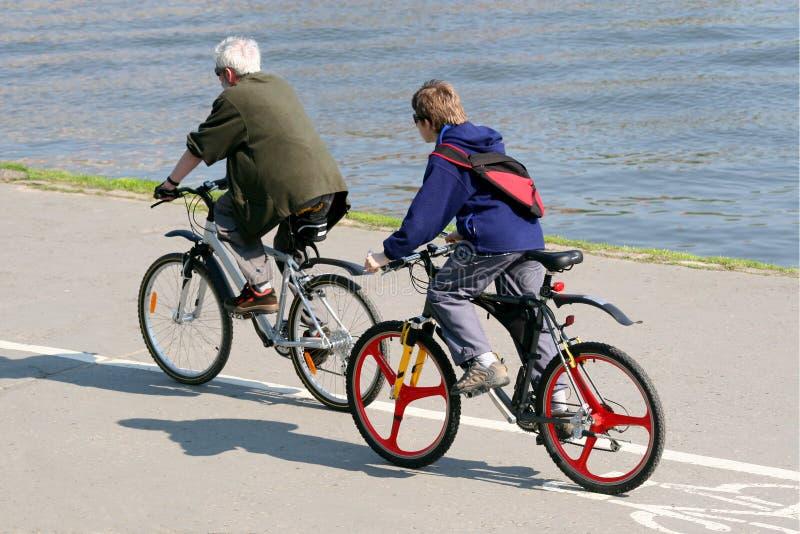 El padre y el hijo están montando en las bicicletas de la montaña fotos de archivo