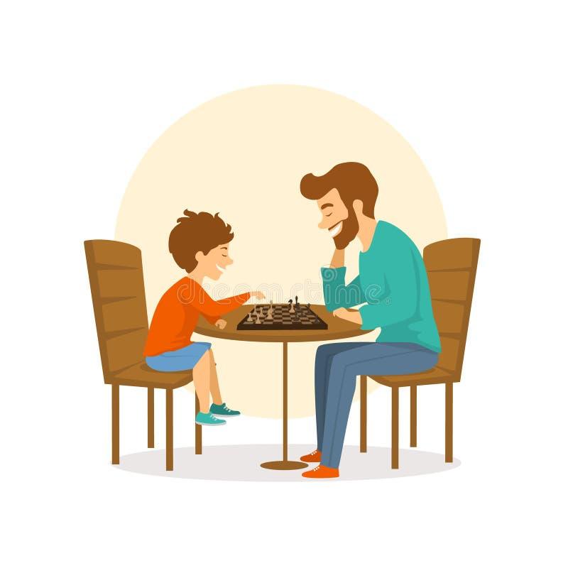 El padre y el hijo, el hombre y el muchacho jugando al ajedrez junto, diversión aislaron el ejemplo del vector stock de ilustración