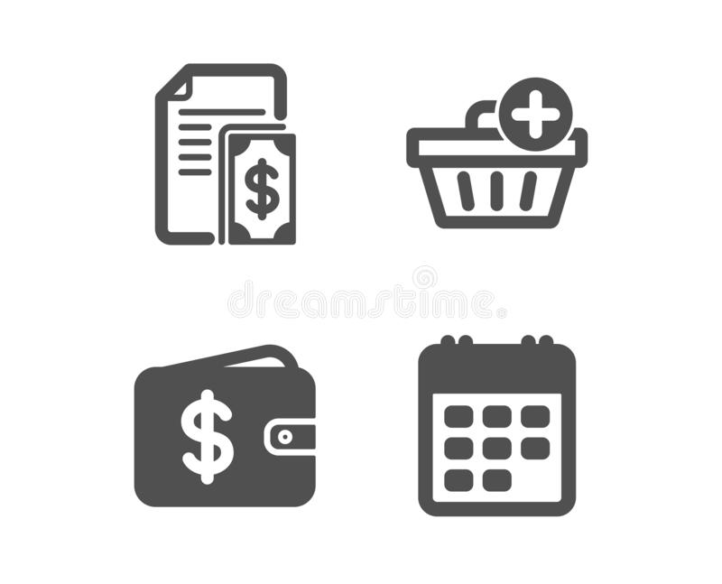El pago, añade iconos de la compra y de la cartera del dólar Muestra del calendario Dinero del efectivo, orden de las compras, re stock de ilustración