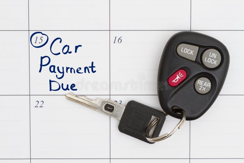 El pago de coche es debido ahora imágenes de archivo libres de regalías