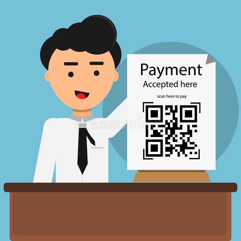 El pago del código de Qr aceptado aquí con el hombre muestra imagen de archivo