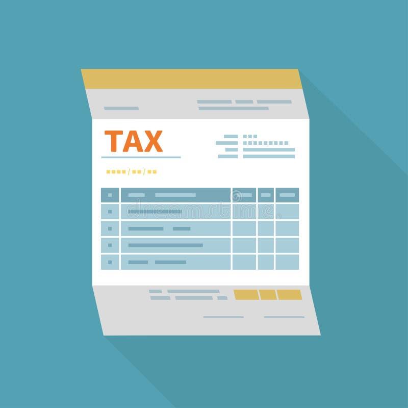 El pago del impuesto, facturas, comprueba concepto Calendario financiero, forma de impuesto para el tablero, lupa, calculadora, p stock de ilustración