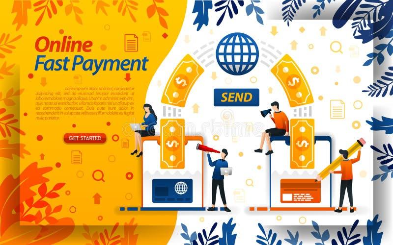 El pago en línea más rápido dinero de la transferencia en línea con las tarjetas y los smartphones envíe el dinero, ilustration d ilustración del vector