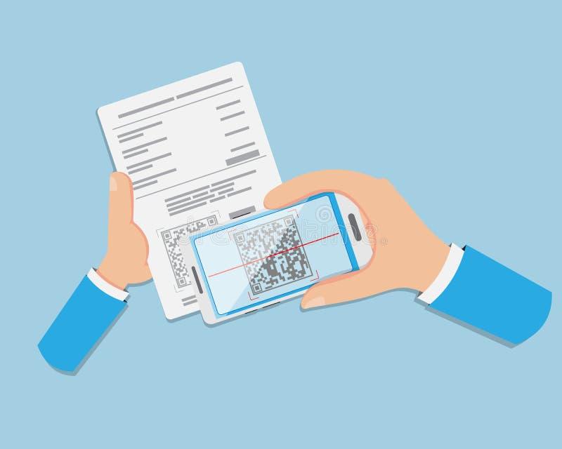 El pago plano de la mano se hace vía QR CODE ilustración del vector