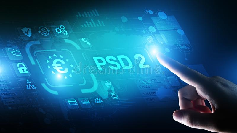 El pago PSD2 mantiene protocolo de seguridad bancario abierto directivo del proveedor de servicios del pago fotografía de archivo libre de regalías