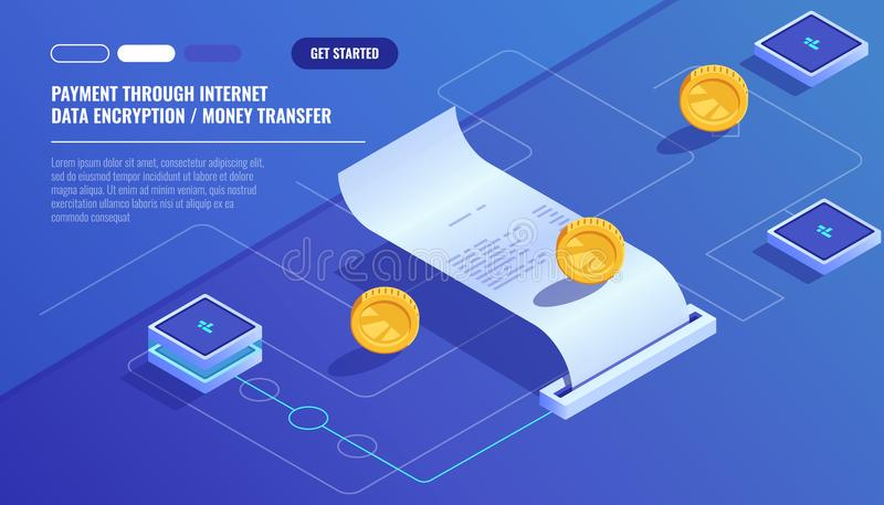 El pago a través de Internet, transferencia monetaria de la encripción de datos, paga la cuenta electrónica, recibo de papel del  stock de ilustración