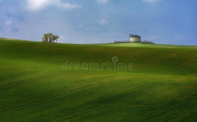 El paisaje atractivo está en los campos soleados verdes foto de archivo