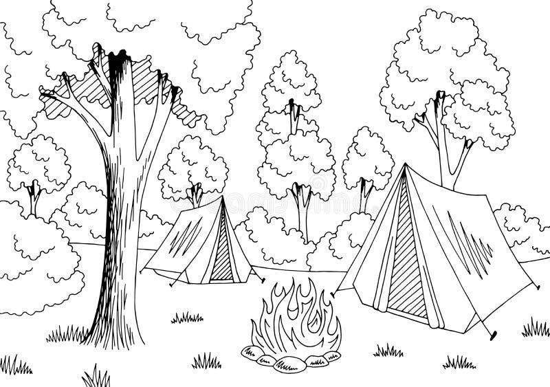 El paisaje blanco negro gráfico del bosque que acampa bosqueja vector del ejemplo stock de ilustración
