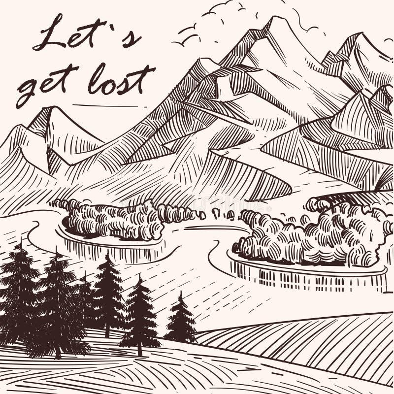 El paisaje bosquejado mano Lets de la montaña consigue perdido ilustración del vector