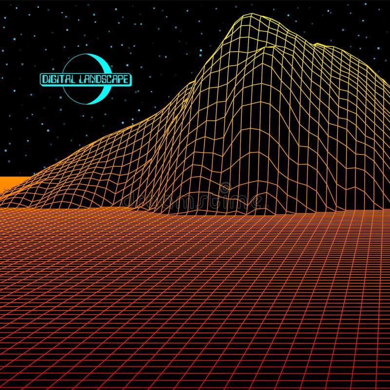 El paisaje con la rejilla del wireframe de 80s diseñó la estructura retra del juego de ordenador o del fondo 3d de la ciencia con libre illustration