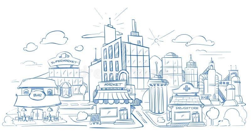 El paisaje de la ciudad con los edificios modernos dibuja a lápiz bosquejo, da exhausto, ejemplo del vector del garabato ilustración del vector