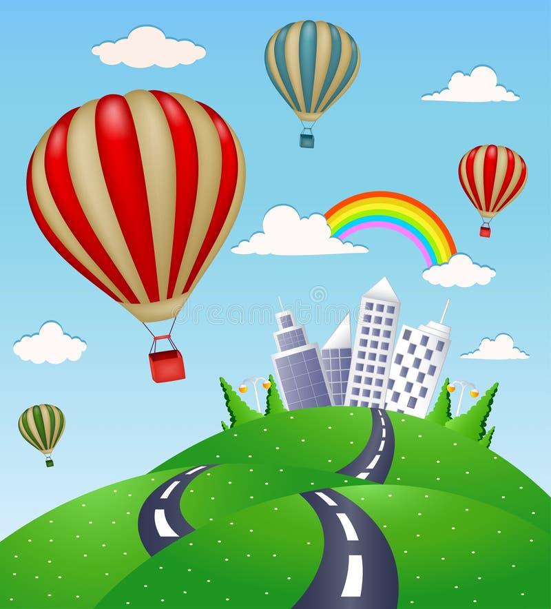 El paisaje de la fantasía con el camino y el aire caliente hinchan libre illustration