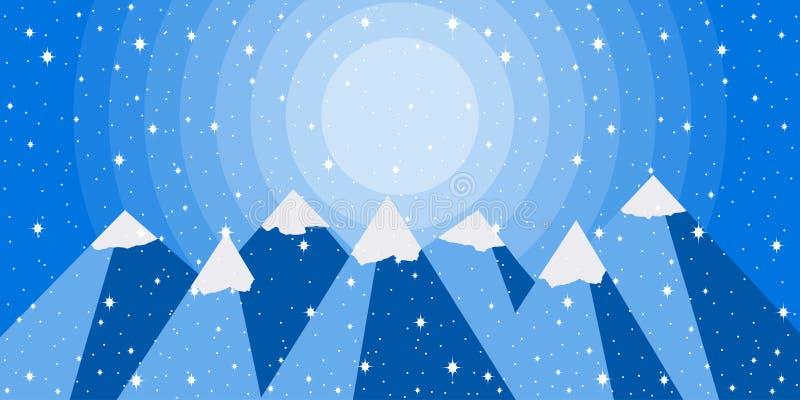El paisaje de la montaña del invierno es estilo plano Picos coronados de nieve Vector ilustración del vector
