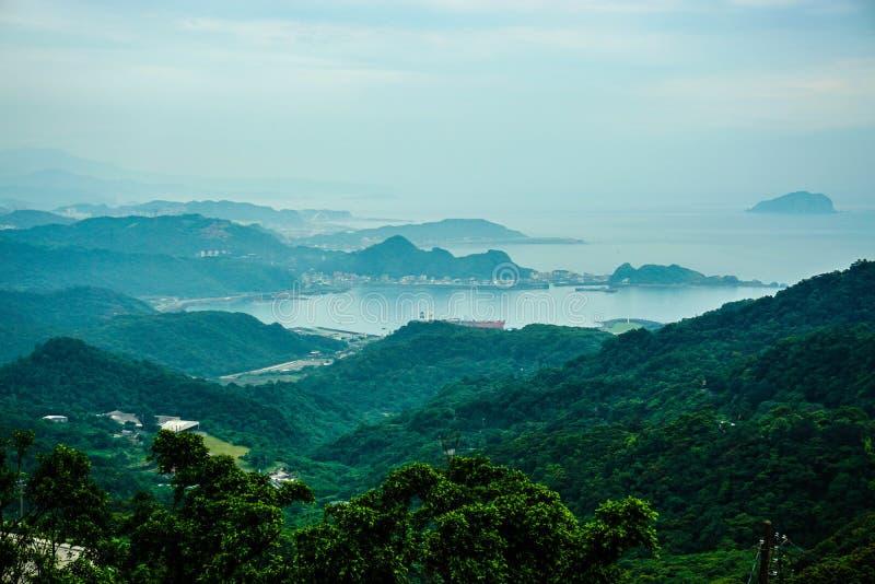 El paisaje de la montaña de Jiufen, nueva ciudad de Taipei, Taiwán fotografía de archivo