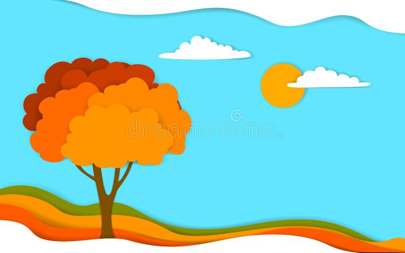 El paisaje del árbol de la caída del otoño en papel acodado digital del efecto cortó vector del estilo stock de ilustración