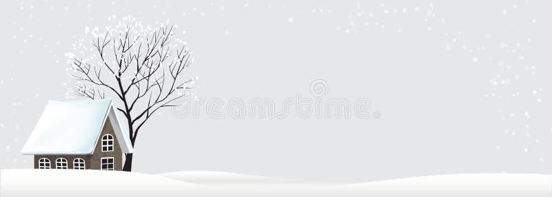 El paisaje del árbol del invierno y la nieve de la casa bajan en la noche stock de ilustración