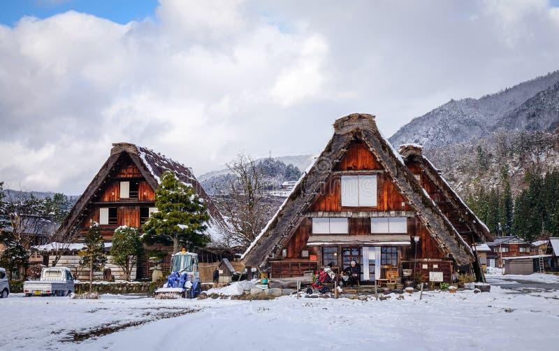 El paisaje del invierno adentro Shirakawa-va, Japón imagen de archivo libre de regalías