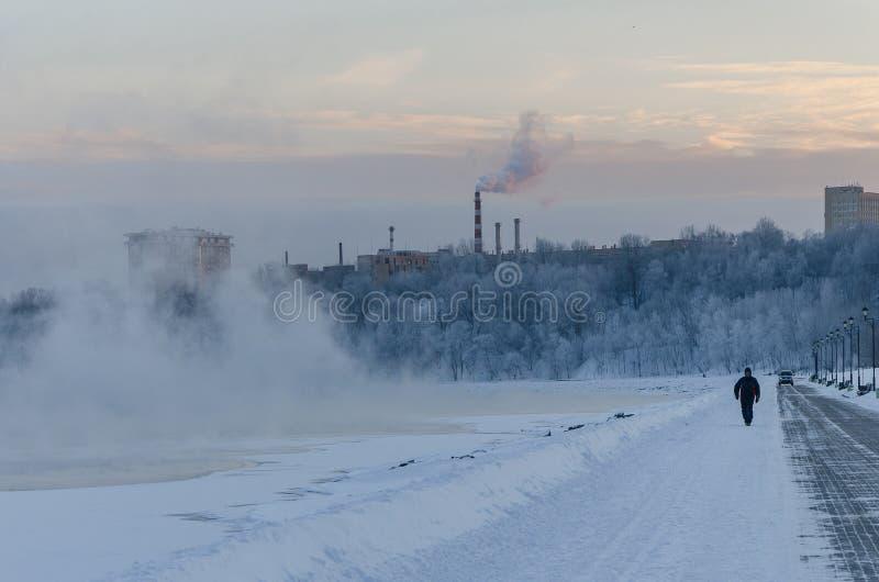 El paisaje del invierno en el parque de Kolomenskoye en Moscú imágenes de archivo libres de regalías