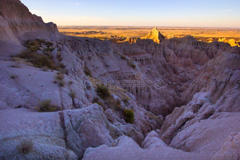 El paisaje del parque nacional de los Badlands foto de archivo