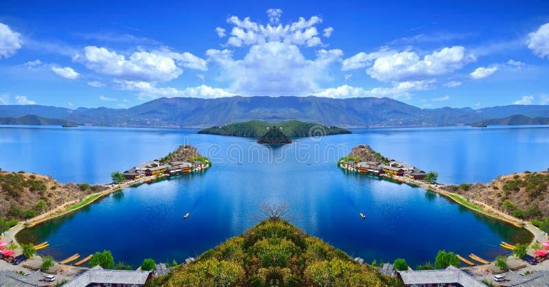 El paisaje encantador del lago Lugu fotos de archivo libres de regalías