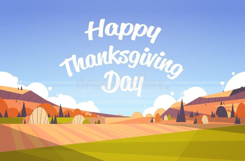 El paisaje feliz de la caída del otoño de las letras del texto de la tarjeta de felicitación de la acción de gracias coloca el ca libre illustration