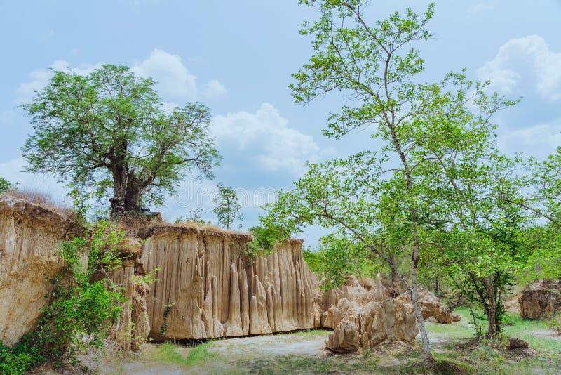 El paisaje hermoso de corrientes a trav?s de la tierra tiene la erosi?n y hundimiento del suelo en una capa natural en Pong Yub, imagenes de archivo