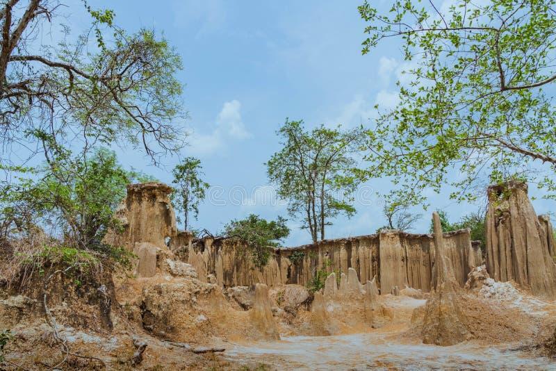 El paisaje hermoso de corrientes a trav?s de la tierra tiene la erosi?n y hundimiento del suelo en una capa natural en Pong Yub, fotos de archivo