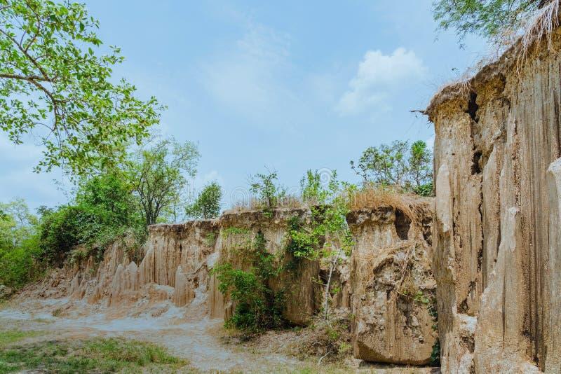 El paisaje hermoso de corrientes a trav?s de la tierra tiene la erosi?n y hundimiento del suelo en una capa natural en Pong Yub, imagen de archivo libre de regalías