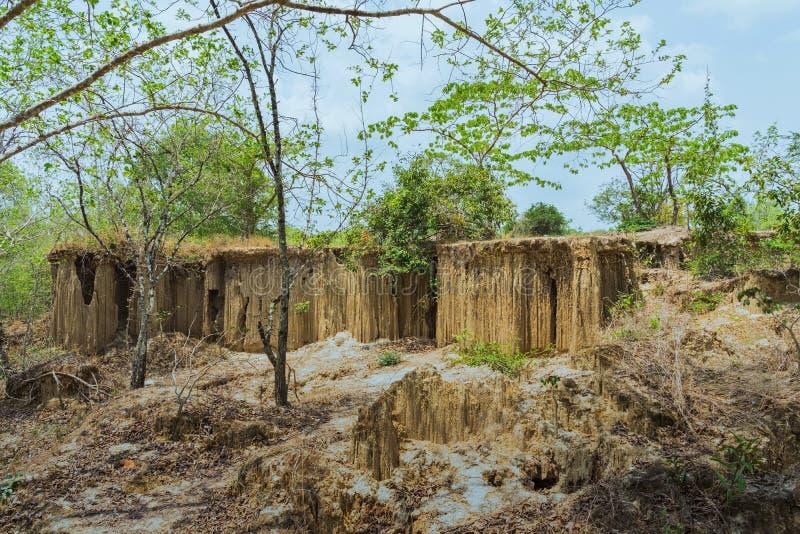 El paisaje hermoso de corrientes a trav?s de la tierra tiene la erosi?n y hundimiento del suelo en una capa natural en Pong Yub, foto de archivo
