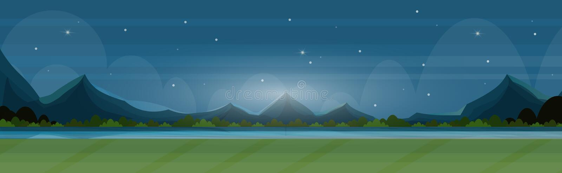 El paisaje hermoso en montañas del río de la noche de la naturaleza ajardina la bandera horizontal plana de la opinión panorámica libre illustration