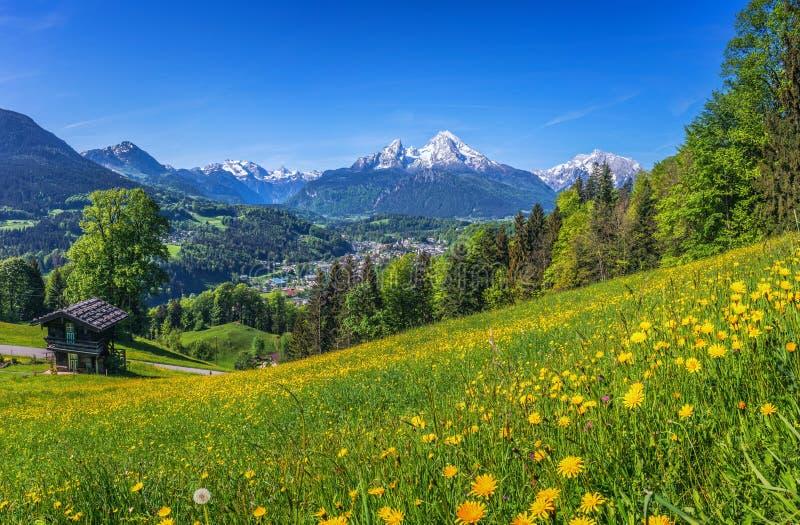 El paisaje idílico de la primavera en las montañas con la montaña tradicional se aloja imágenes de archivo libres de regalías